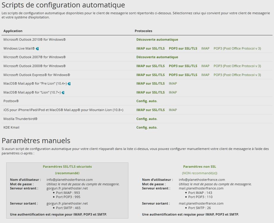 Configuration courriel