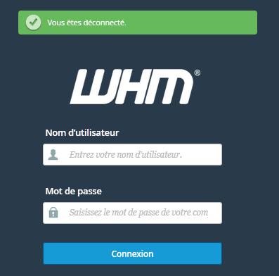 Connexion WHM
