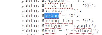 configuration.php debug Joomla